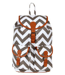 Buy Grey and  white canvas lacey backpack backpack online