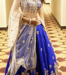 Buy blue embroidered banglori unstitched bridal-lehengas bridal-lehenga online