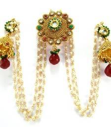 Buy Bridal Ruby emerald kundan faux pearl gold tone bun pin jhumki earring be12  hair-accessory online