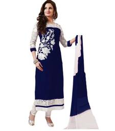 Buy Navi blue georgette embroidered semi stitiched salwar with dupatta cotton-salwar-kameez online
