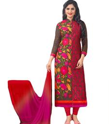 Buy Brown and red cotton embroidered semi stitched salwar with dupatta salwars-and-churidar online