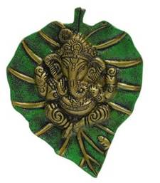 Buy eCraftIndia Lord Ganesha on Green Leaf other-home-accessory online