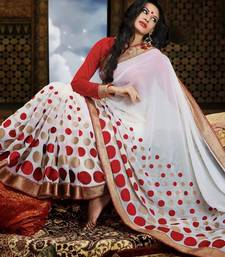 Buy Refreshing Chiffon White DESIGNER Look Saree chiffon-saree online