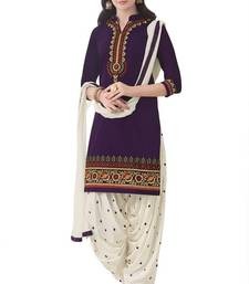 Buy Blue and purple poly cotton printed unstitched salwar with dupatta cotton-salwar-kameez online