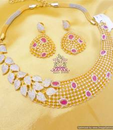 Buy Beautiful Ruby Leaf Pattern Necklace Necklace online