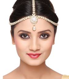 Buy Trendy Design Matha Patti For Wedding Gold Finishing with Pearl and Stone in White hair-accessory online