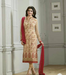 Buy Beige georgette embroidery semi stitiched salwar with dupatta party-wear-salwar-kameez online