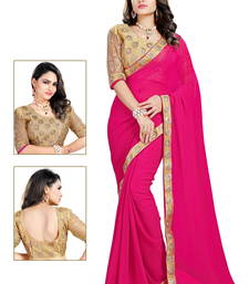 Pink embroidered faux georgette saree with blouse shop online