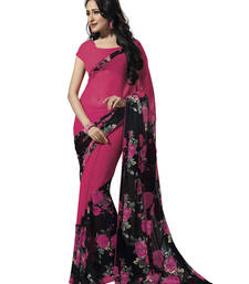 Buy Pink printed georgette saree with blouse printed-saree online