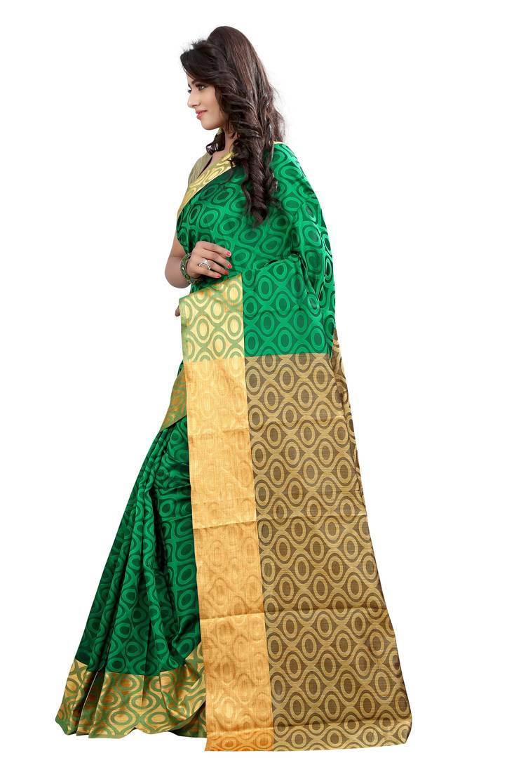 Buy Green Printed Cotton Silk Saree With Blouse Online