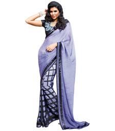 Buy Vishal Purple Jacquard Crepe+Crepe Saree  TheCourtYard31502 jacquard-saree online