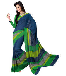 Buy Vishal Blue Green Satin Printed Work Saree Vidhya31044 printed-saree online