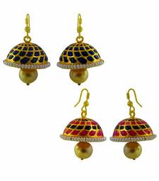 Buy Navratri special Meenakari tokri jhumki earrings combo of two combo-earring online