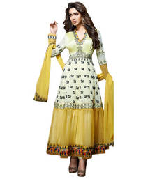 Buy Vishal Green Yellow Soft Net Georgette Santoon Semi Stitch Dress ExoticAffair2607 anarkali-salwar-kameez online