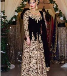 Buy Black tapeta silk embroidered semi stitched salwar with dupatta salwars-and-churidar online