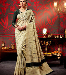 Buy Beige printed bhagalpuri silk saree with blouse bhagalpuri-silk-saree online