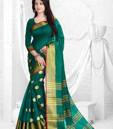 Buy Green printed dupion saree with blouse dupion-saree online