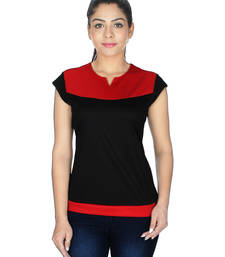 Buy Red and black lycra viscose tops top online