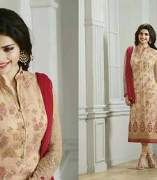 Buy Cream georgette embroidered semi stitched salwar with dupatta salwars-and-churidar online