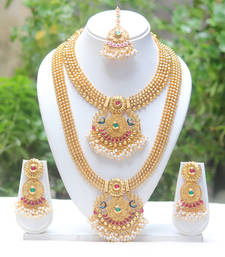 Buy Wacky green and maroon kundan haram set with hanging pearl bridal-set online