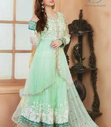 Buy Green georgette embroidered semi stitched salwar with dupatta eid-special-salwar-kameez online