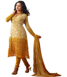 Buy Yellow georgette embroidered semi stitched salwar with dupatta salwars-and-churidar online