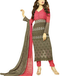 Buy Pink and grey georgette embroidered semi stitiched salwar with dupatta eid-special-salwar-kameez online