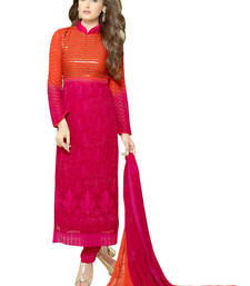Buy Orange and pink georgette embroidered semi stitiched salwar with dupatta pakistani-salwar-kameez online