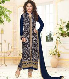 Buy Styles Closet Blue embroidered georgette semi stitched salwar with dupatta black-friday-deal-sale online
