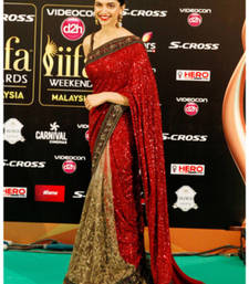 Buy DEEPIKA IIFA RED embroidered georgette saree with blouse deepika-padukone-saree online