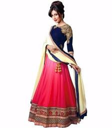 Buy Pink georgette embroidery and less work unstitched lehenga-choli lehenga-choli online