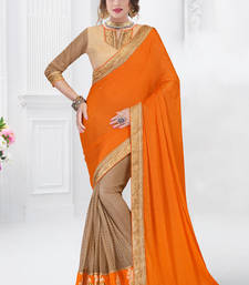 Buy Dark orange embroidered chiffon saree with blouse karwa-chauth-saree online
