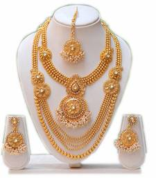 Buy South indian traditional antique white kundan haram set bridal-set online