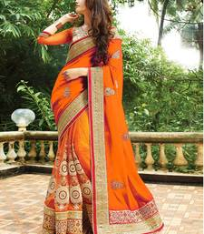 Buy Orange embroidered georgette saree with blouse art-silk-saree online