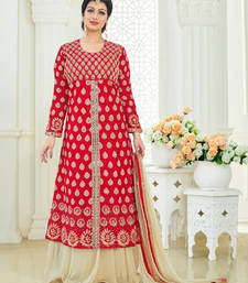 Buy Red banglori silk embroidered semi stitched salwar with dupatta ayesha-takia-salwar-kameez online