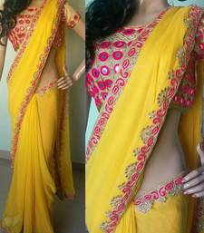 Buy Bikaw Embroidered Yellow Georgette Traditional Party Wear Saree. - KT-3088 bollywood-saree online