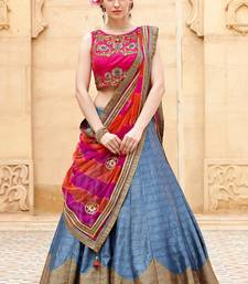Buy Pink and grey embroidered banglori silk unstitched lehenga choli lehenga-choli online