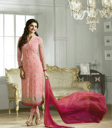Buy Pink georgette embroidered and stone work semi stitched salwar with dupatta salwars-and-churidar online