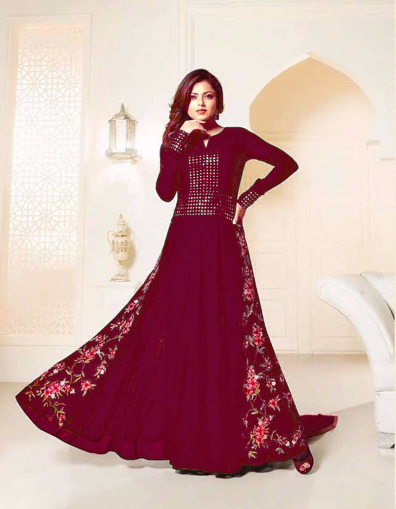 buy maroon georgette embroidered and mirror work semi stitched salwar