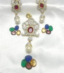 Buy Shining Pearl & Sensuous CZ Ruby - 5 Colours Pendant online