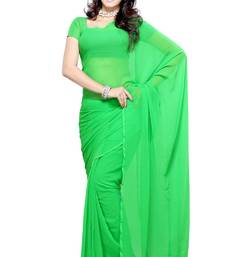 Buy Green plain georgette saree with blouse below-400 online