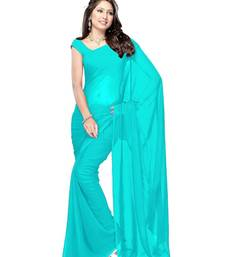 Buy Blue plain georgette saree with blouse below-400 online