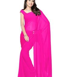 Buy Pink plain georgette saree with blouse below-400 online