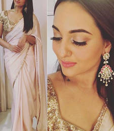 Buy Beige embroidered georgette saree with blouse sonakshi-sinha-saree online
