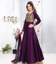Buy Purple silk embroidered semi stitiched salwar with dupatta party-wear-salwar-kameez online
