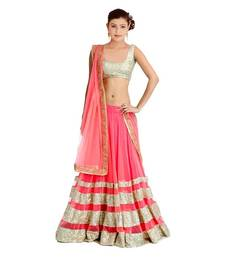 Buy pink and golden embroidered net unstitched navratri-lehenga-chaniya-choli navratri-lehenga-chaniya-choli online
