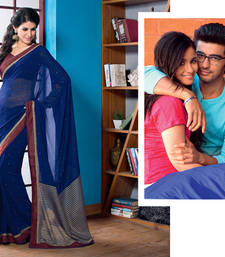 2 States By Vishal Navy Blue Chiffon Saree  From 2 States Movie 32613