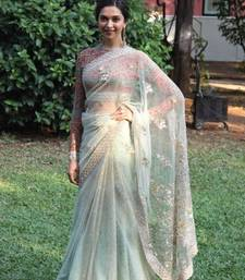 Buy Light green embroidered nylon saree with blouse deepika-padukone-saree online