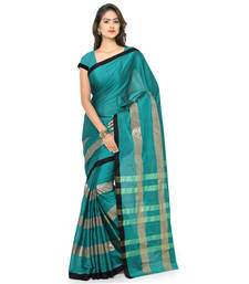 Buy Turquoise hand woven cotton silk saree with blouse south-indian-saree online