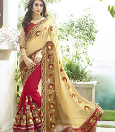 Buy Cream and maroon embroidered georgette saree with blouse eid-saree online